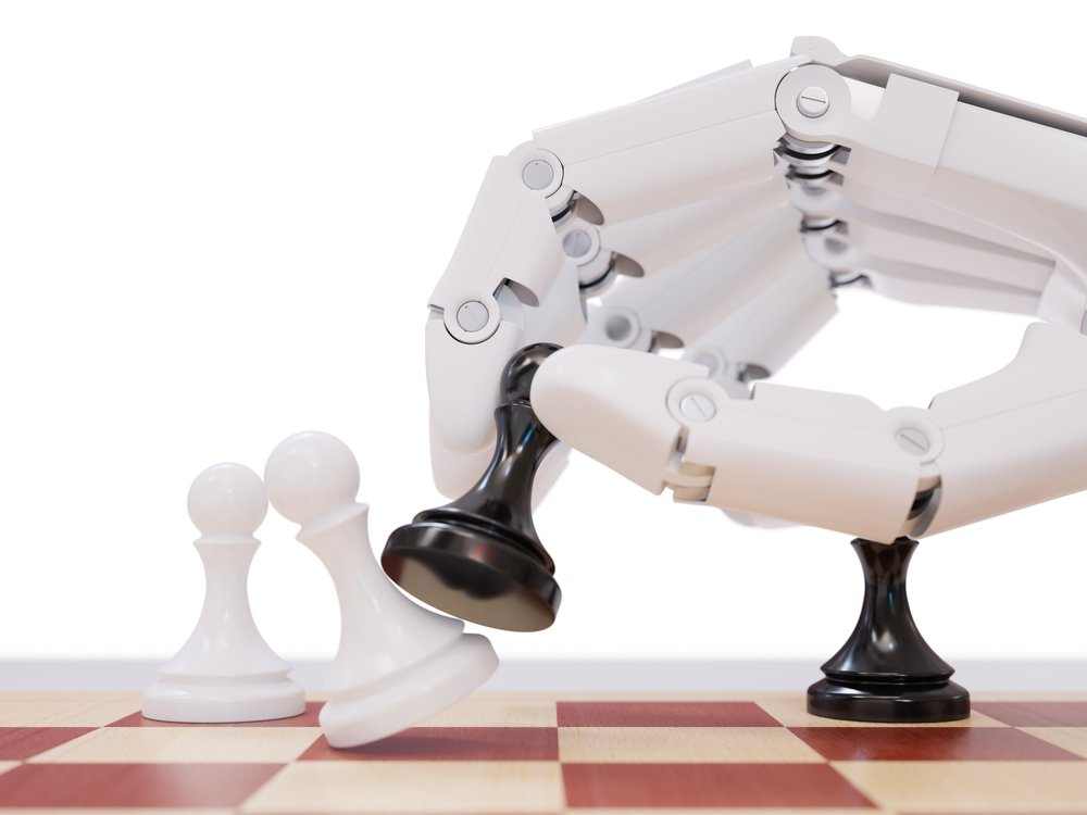 Artificial Intelligence Playing Chess Concept. Robot Beating Chess Pawn(maxuser)s