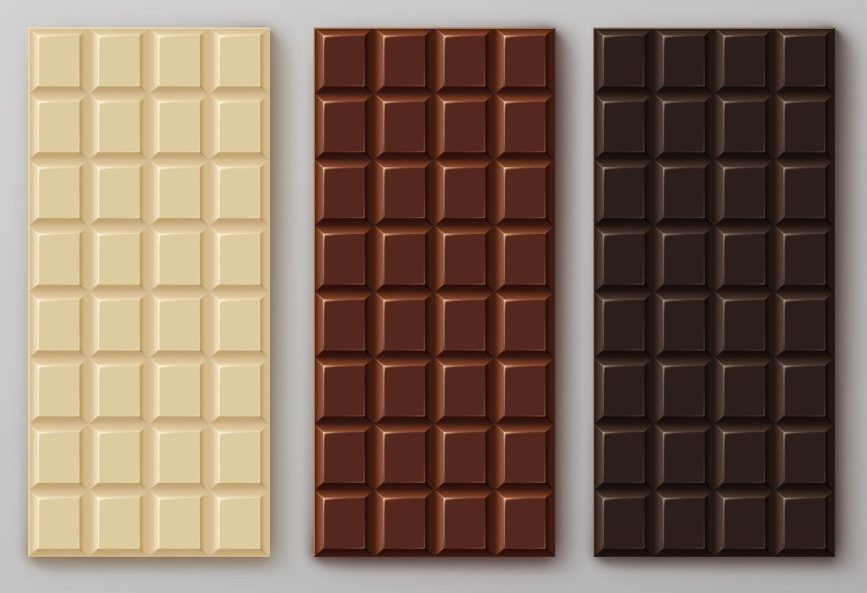 Chocolate bar package packaging blank white pack set isolated vector illustration - Vector(Zonda)S