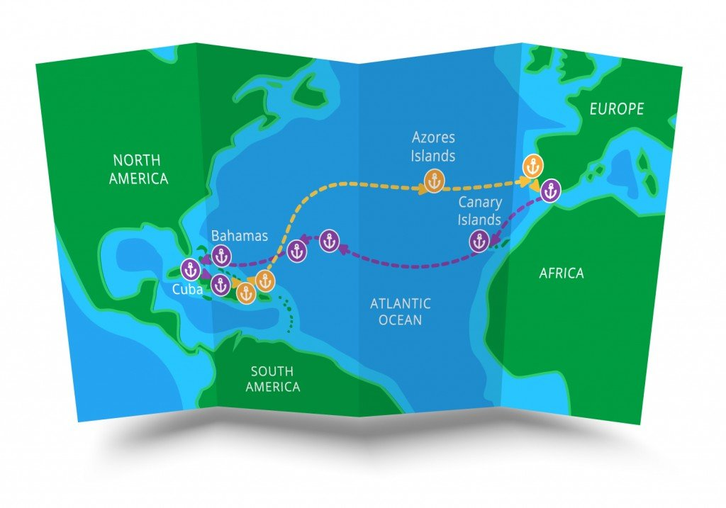 Christopher Columbus first voyage folded map flat vector scheme infographics, map vector background - Vector(DEmax)s