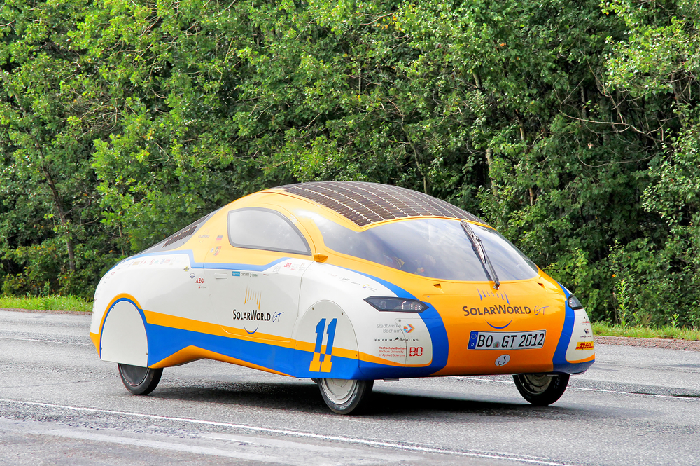 JULY 24, 2012 Solar car SolarWorld GT takes part at the first around-the-world solar car journey.( Art Konovalov)S
