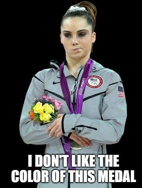 McKayla not impressed bronze silver medal Olympics meme