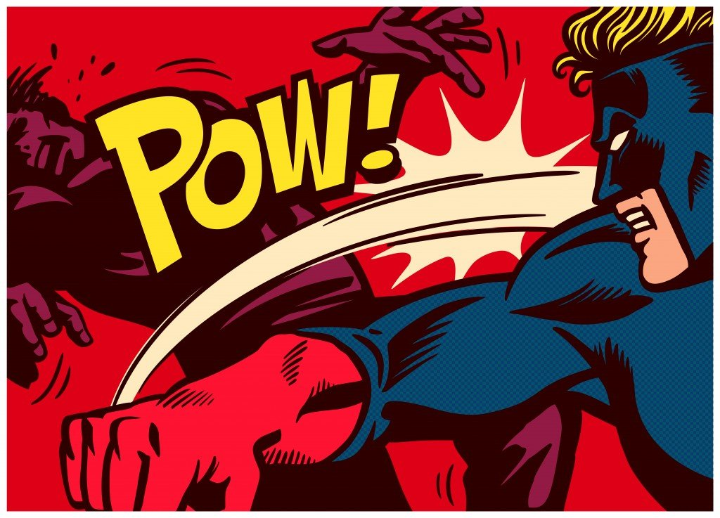 Pop art comic book style panel with superhero fighting, throwing punch and beating super villain vector poster wall decoration(durantelallera)s