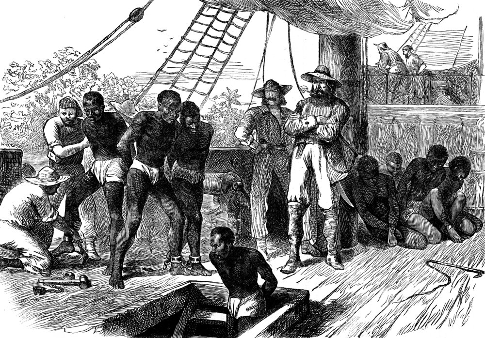 Slavery in Africa. The Treaty, vintage engraved illustration( Morphart Creation)s