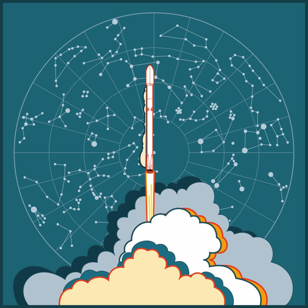 SpaceX Falcon 9 shipped by Elon Musk. Rocket Falcon 9 launching and star map night sky vector retro style illustration(Smartha)s