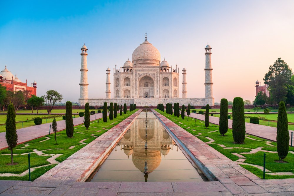 Taj Mahal is a white marble mausoleum on the bank of the Yamuna river in Agra city(saiko3p)s