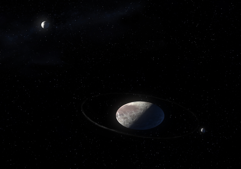 This image is a concept of the Haumea ellipsoidal dwarf planet with rings in the Kuiper belt and its moons( Diego Barucco)s