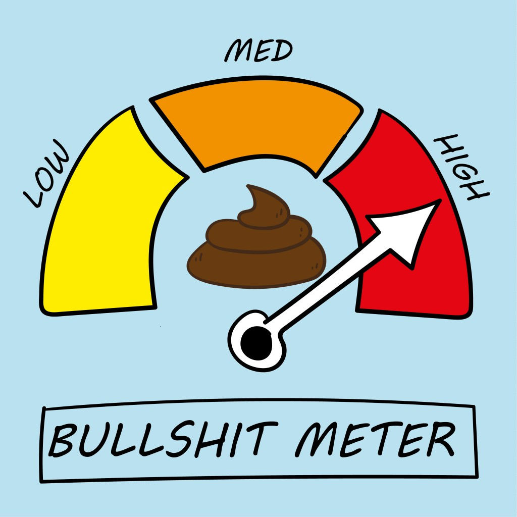 Vector illustration of a meter detecting levels of bullshit at low, medium or high - Vector(Thinglass)s