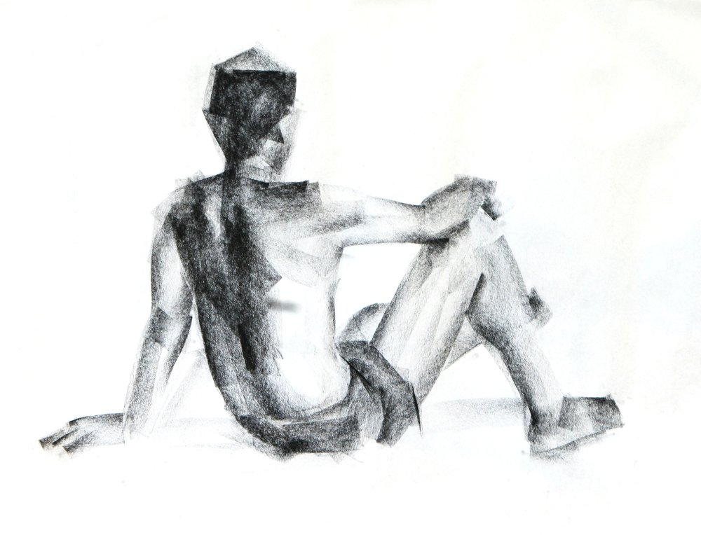 backside of human charcoal drawing - Image(phloxii)S