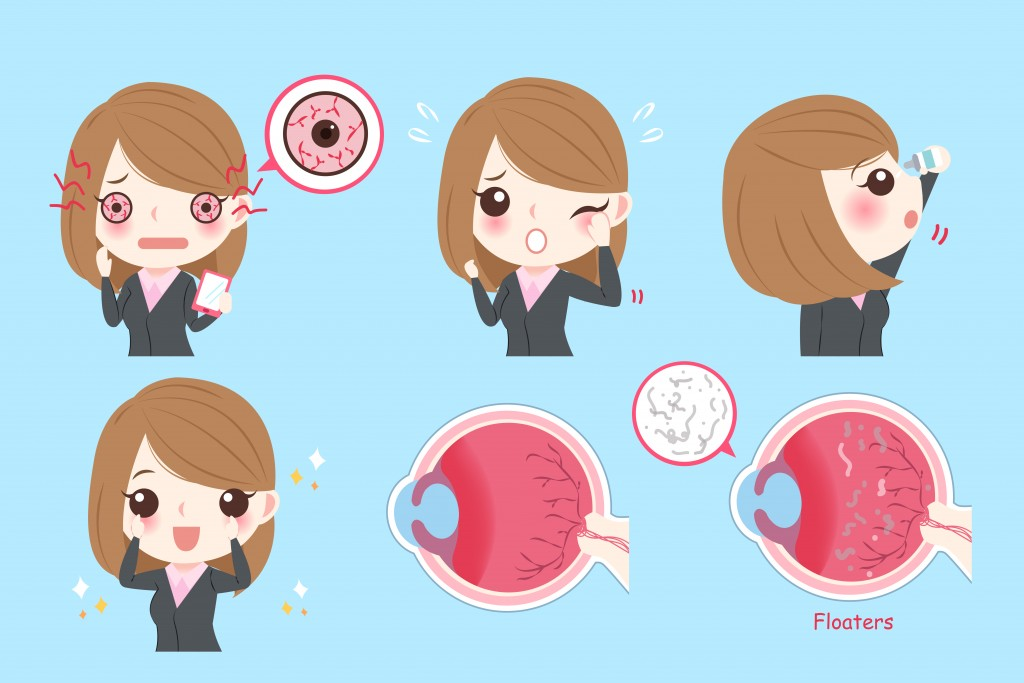 cartoon businesswoman with eye problem on green background(EstherQueen999)s