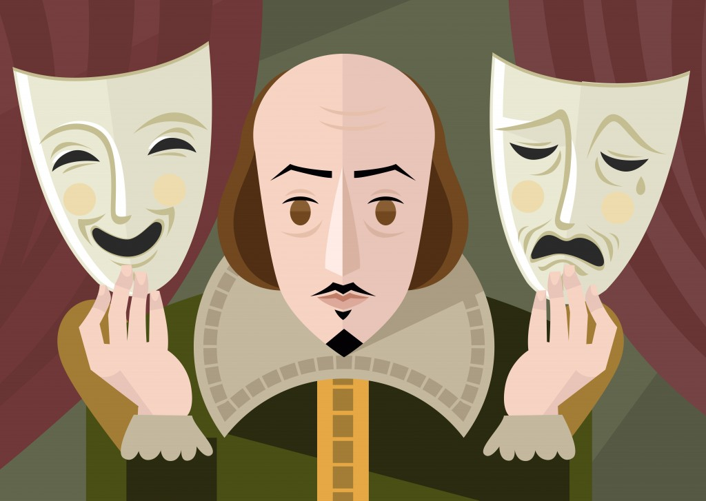 great english playwright with theater masks on stage - Vector(delcarmat)s