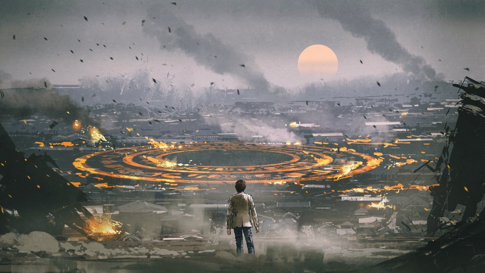 post apocalypse scene showing the man standing in ruined city and looking at mysterious circle on the ground( Tithi Luadthong)s