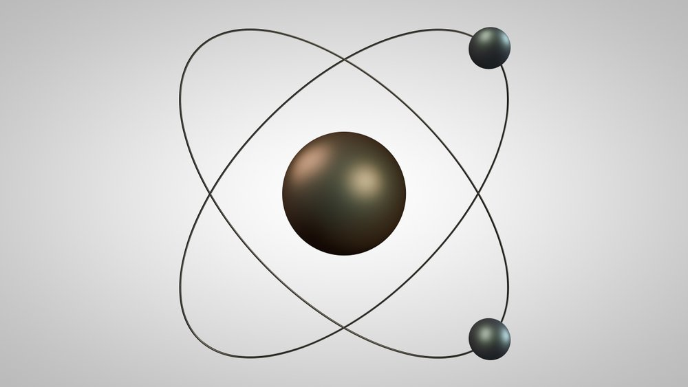 3D illustration of an atom model with a nucleus and two electrons(Tschub)s