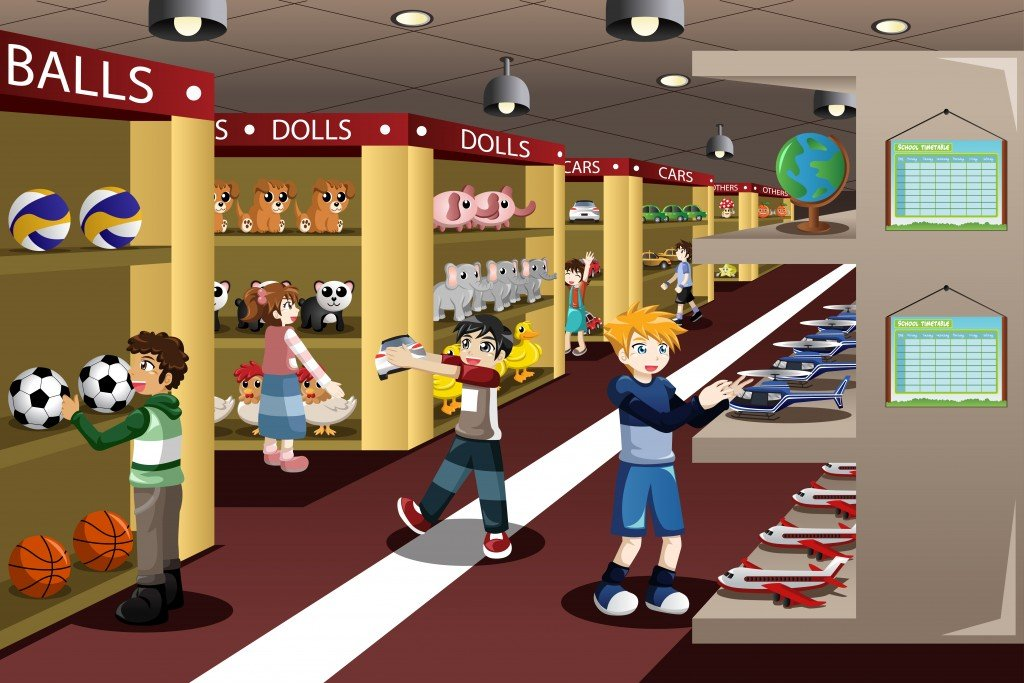 A vector illustration of kids looking at toys in a toy store(Artisticco)S