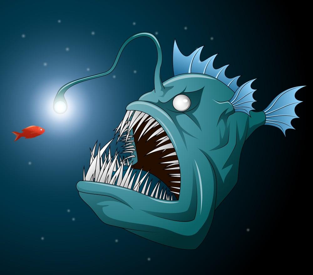 Anglerfish mouth on dark background. Luminous bait and anglerfish teeth(Jibon)