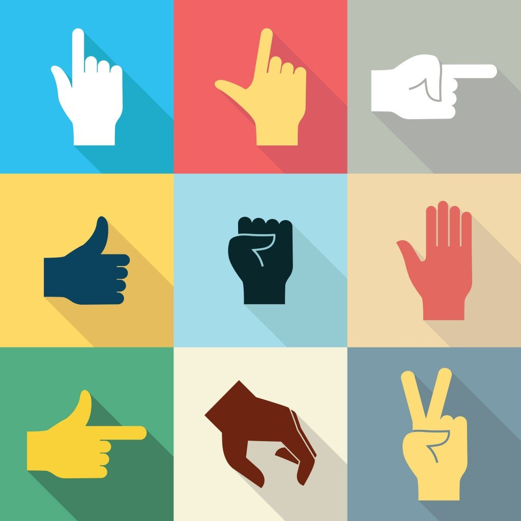 Flat design icon set of hands in many and different gesture with long shadow set 2(jesadaphorn)s