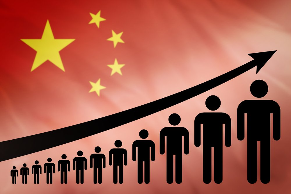 Graph of population growth on the background of the flag China( Anton Watman)s