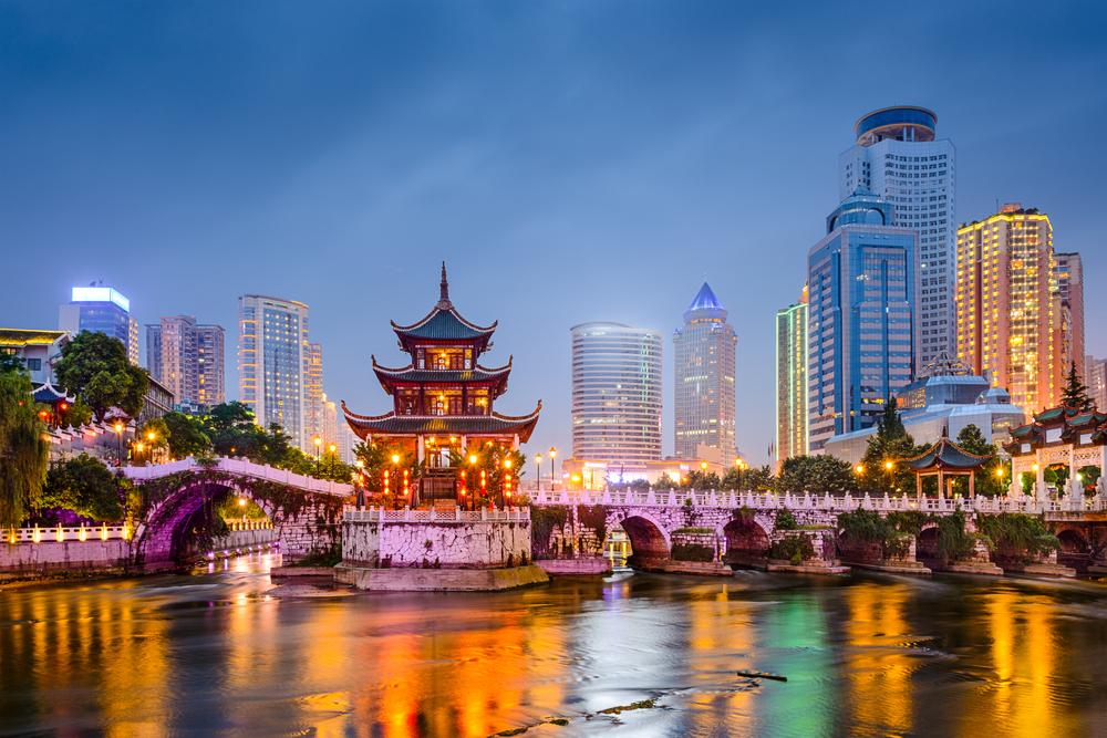 Guiyang, China skyline at Jiaxiu Pavilion on the Nanming River( Sean Pavone)S
