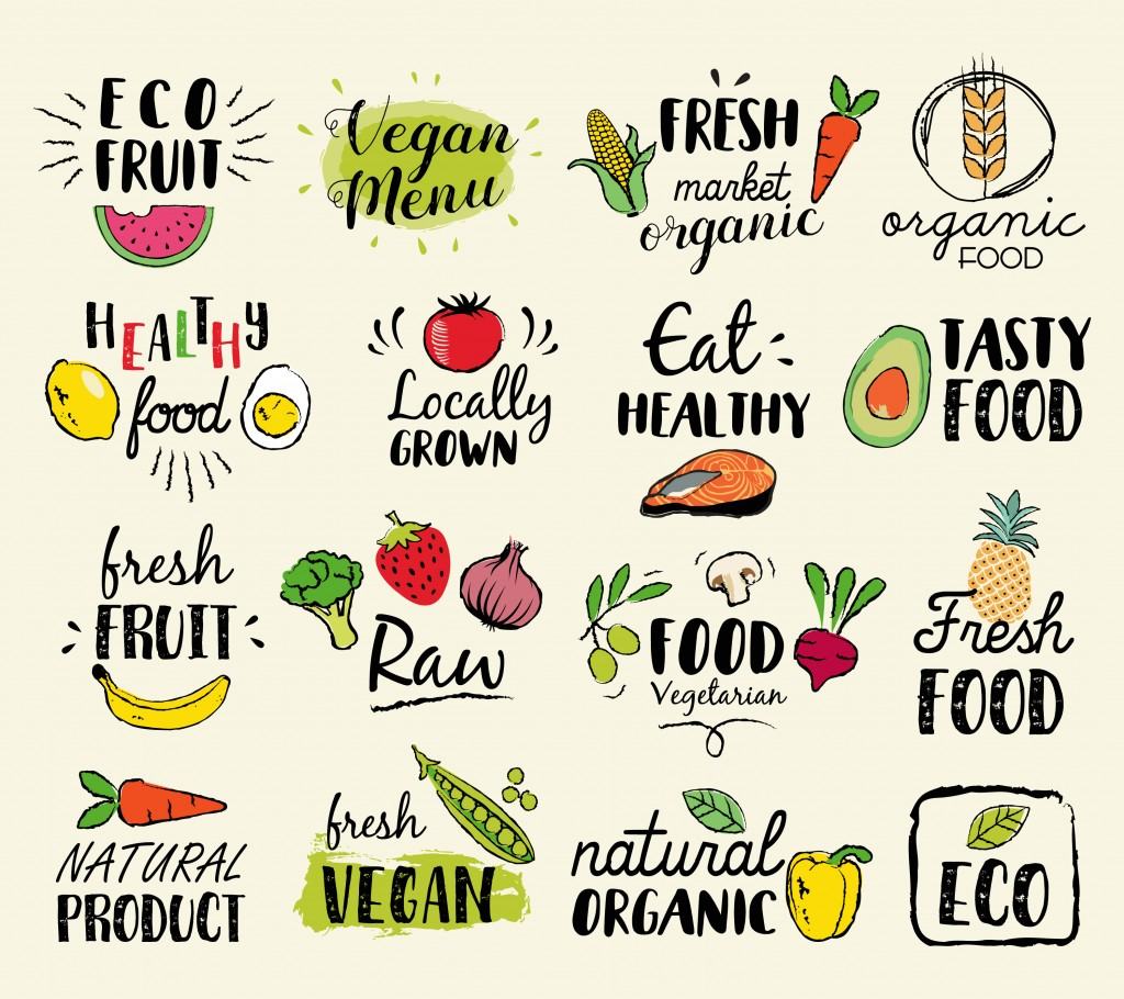 Healthy food hand drawn illustrations and elements for fresh market, eco food, vegan menu, natural products( Apple Art)s