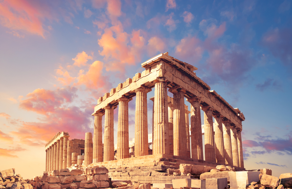 Parthenon temple on a sunset with pink and purple clouds(anyaivanova)s