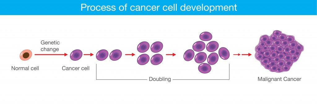 Process of cancer cell development. Medical illustration(solar22)S
