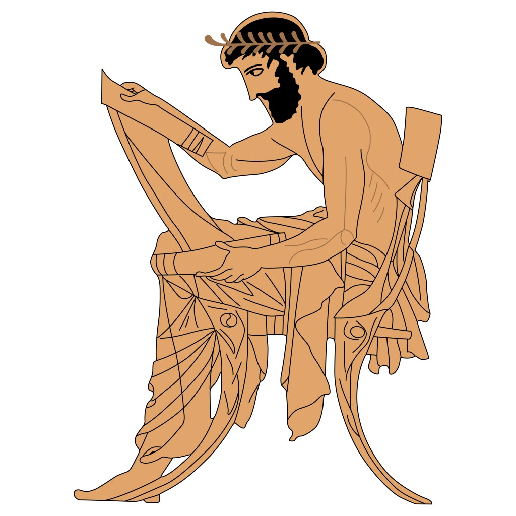 Seated ancient Greek man with a scroll. Based on authentic vase painting image(Eroshka)s