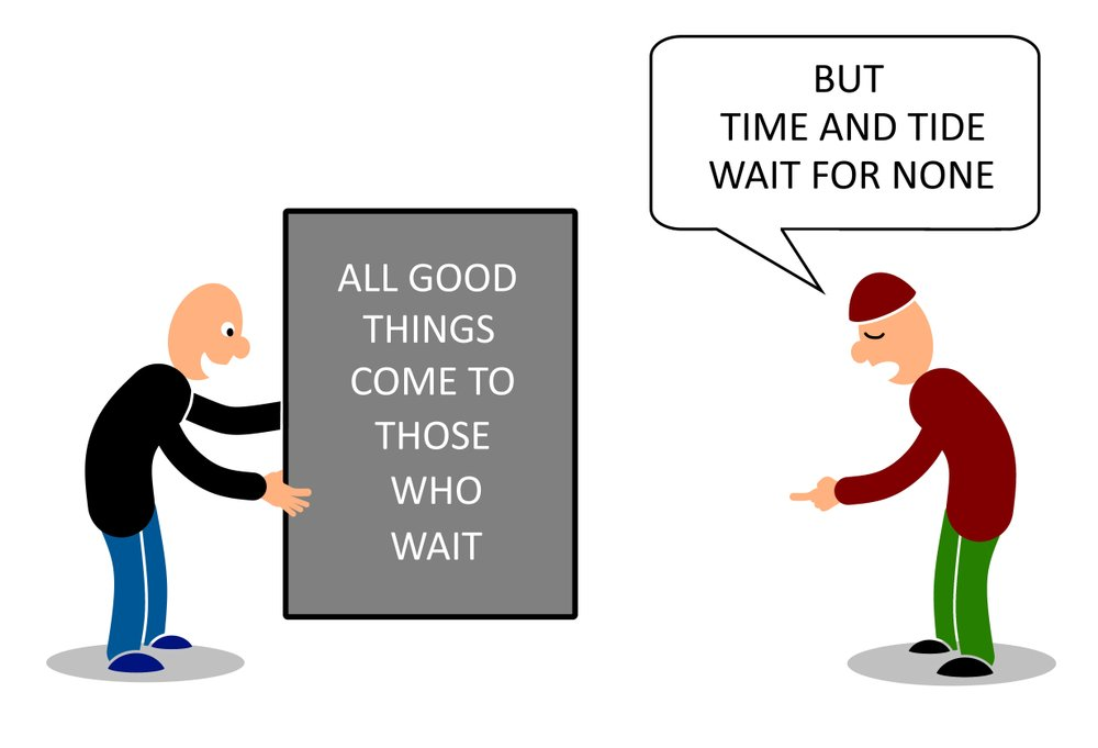 Two men talking on two contradict proverbs on time (mypokcik)s