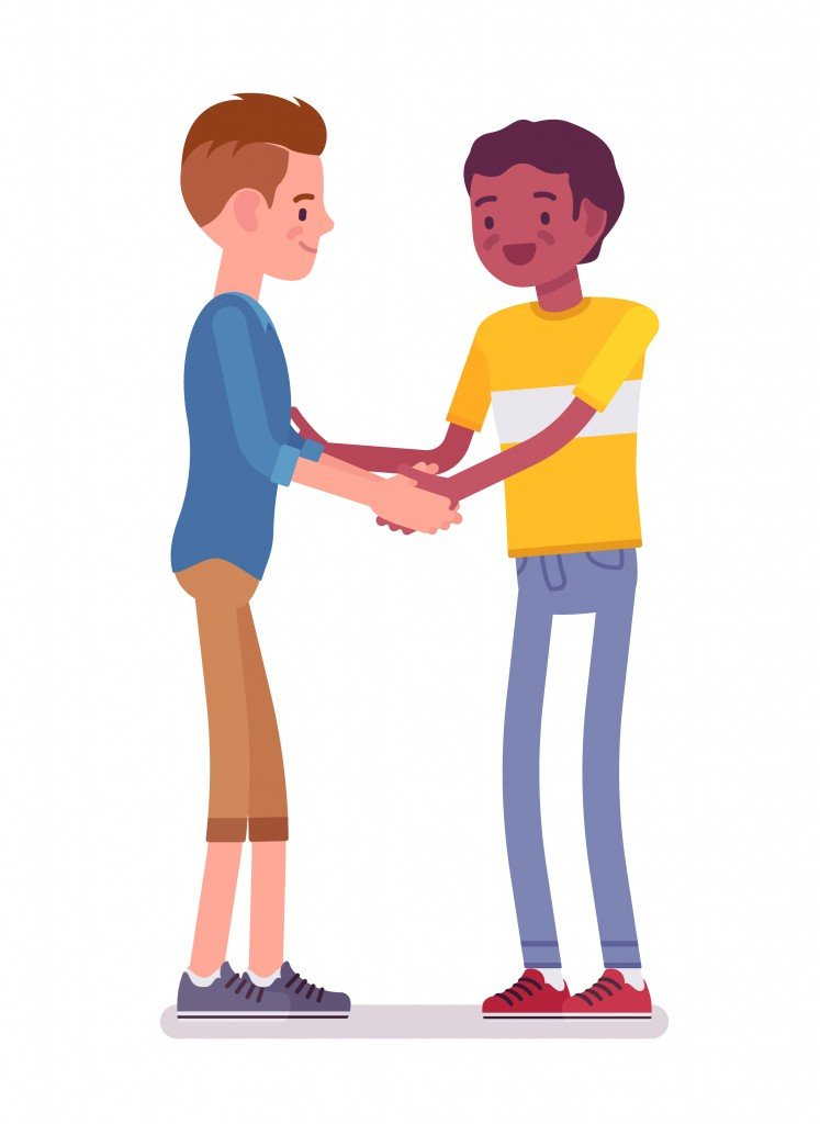 Young men handshaking with both hands. Eye contact, body language, everyday etiquette and customs( Andrew Rybalko)s