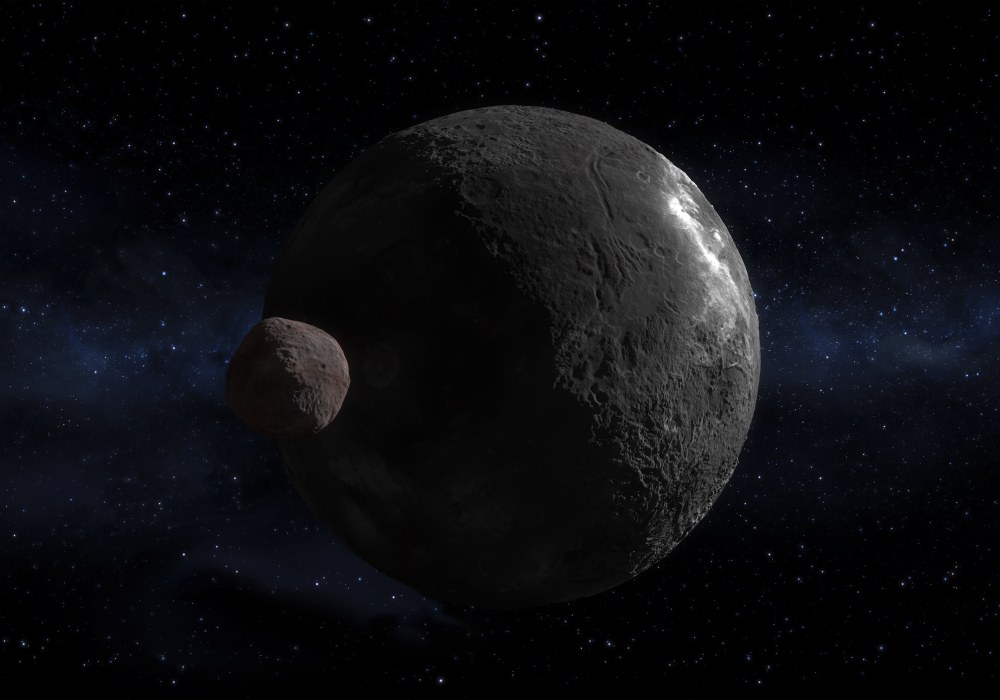 concept of the Kuiper belt object Orcus dwarf planet and your moon Vanth in a precise and scientific and artwork design( Diego Barucco)s
