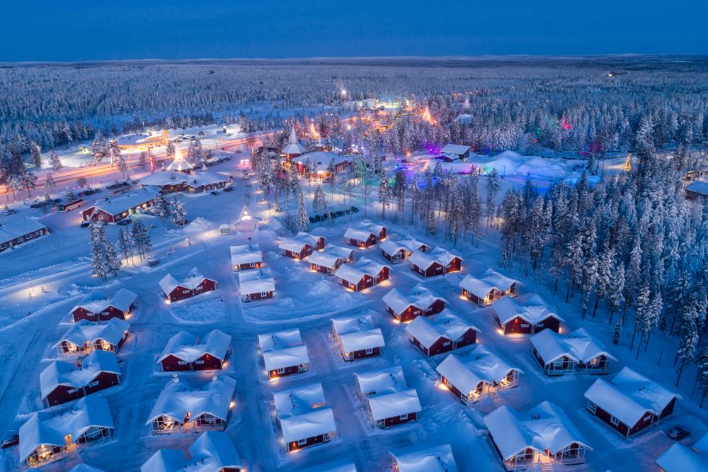 Aerial night view of Santa Claus Village in Rovaniemi in Lapland in Finland(Smelov)s