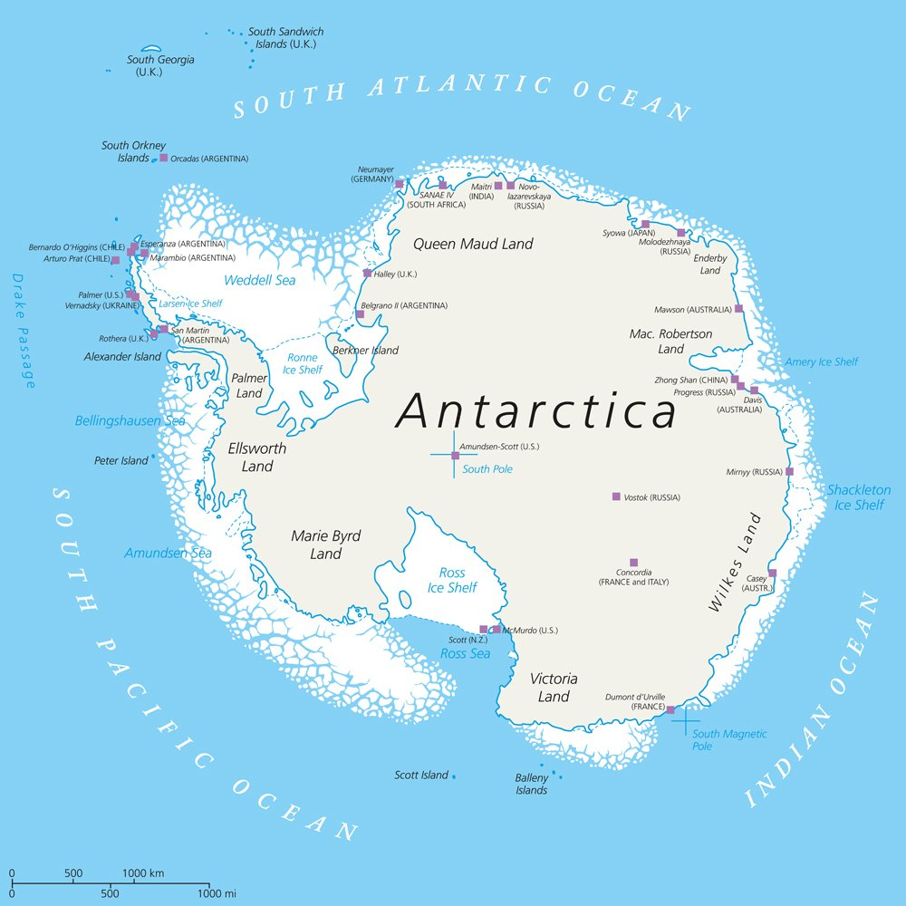 Antarctica Political Map with south pole, scientific research stations and ice shelfs( Peter Hermes Furian)s