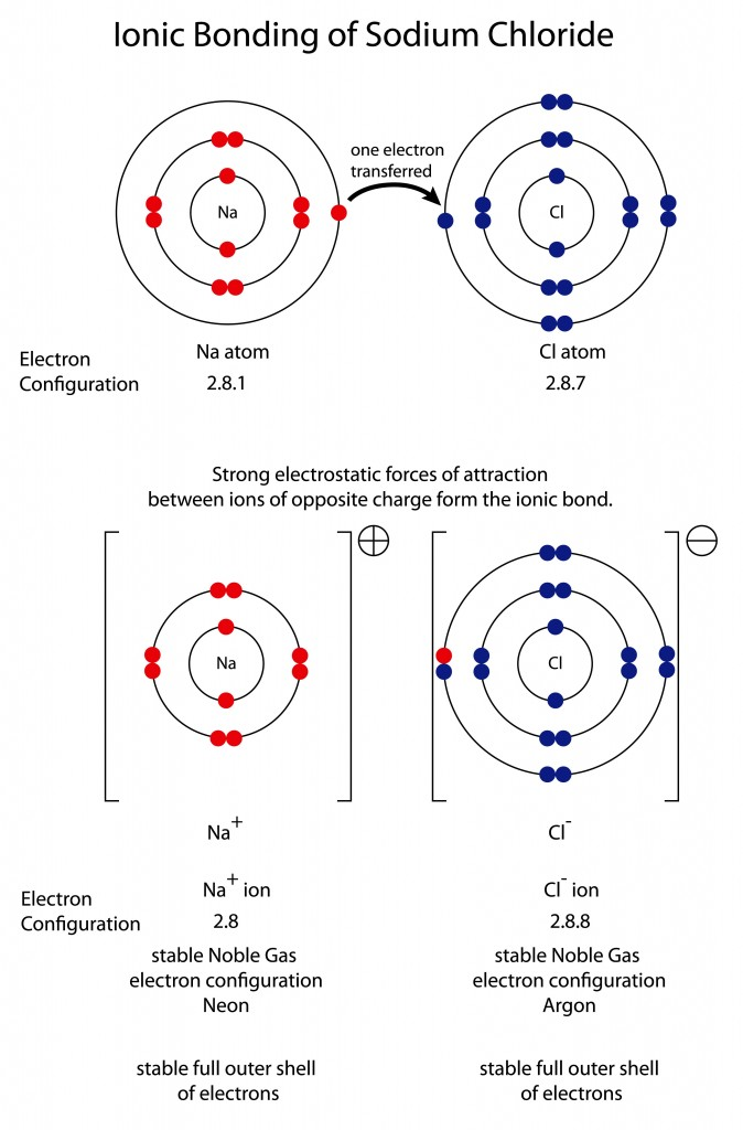 Diagram to show ionic bonding in sodium chloride( Steve Cymro)s