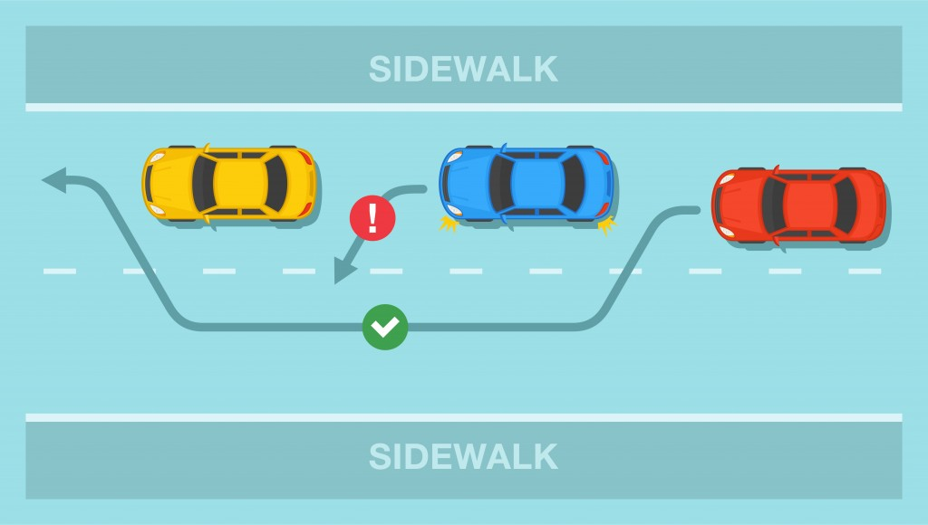 Driving a car. Overtaking or passing rules on the road. Safety drive( Flat vectors)s