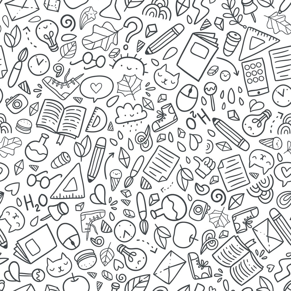 Funny seamless pattern with school supplies and creative elements(kostolom3000)S