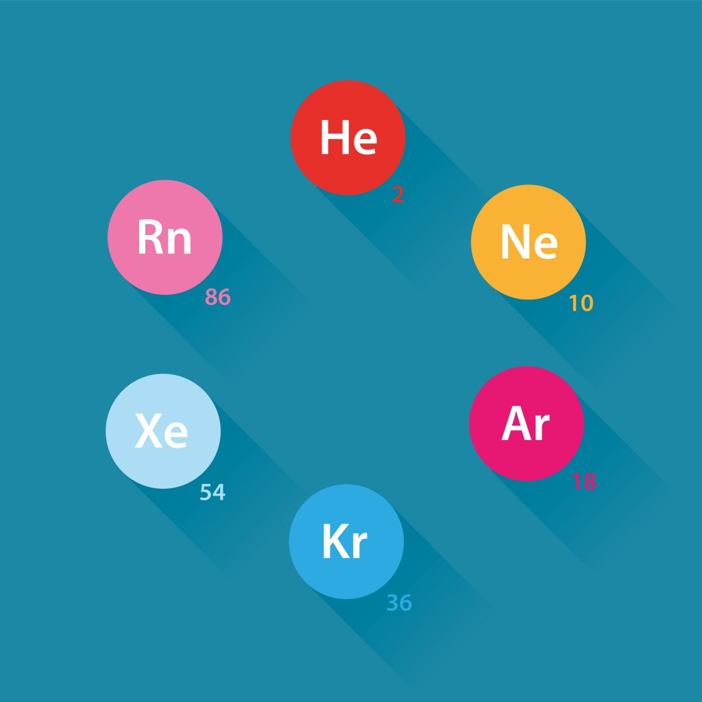 Noble gases icons - flat design(Daumier)s