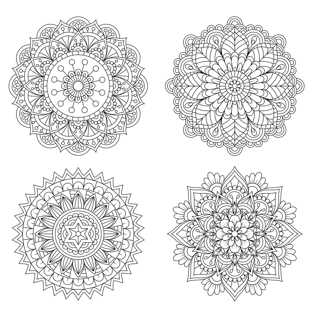 Set of Hand drawn mandala with ethnic floral doodle pattern(09Design_Factory)s