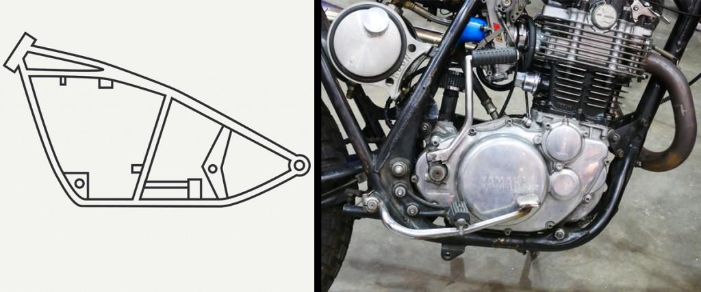 Single cradle frame as seen on a bike