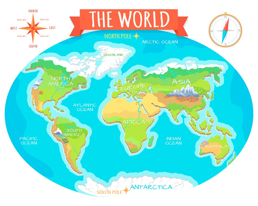The World geographical map. Names of continents,oceans(robuart)s