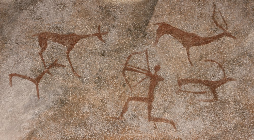 animals and hunter on the stone wall of the cave paint(gerasimov_foto_174)S