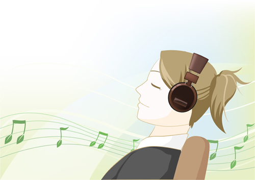 girl listening to music with an earphone(cglandmark)s