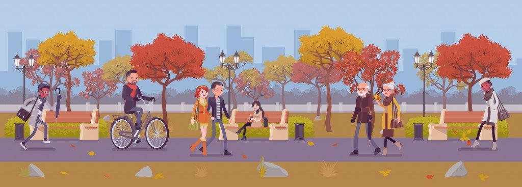Fall season park zone with people. Large public garden in autumn(Andrew Rybalko)s