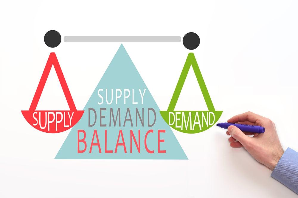 supply demand balance. market equilibrium concept( astel design)s