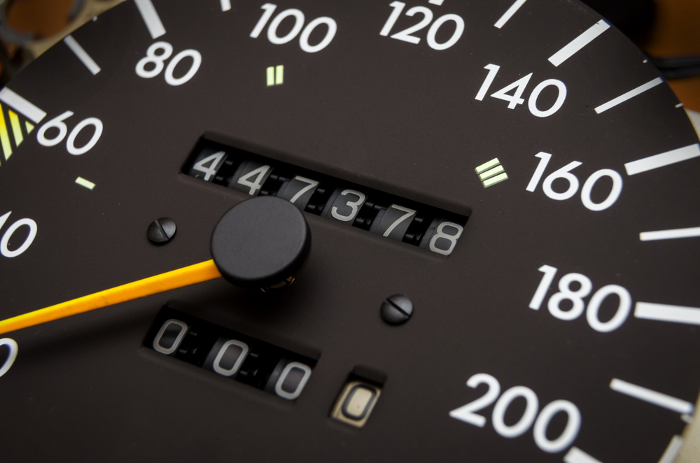 Close up shot of a speedometer in a car. Car dashboard( Yaroslau Mikheyeu)s
