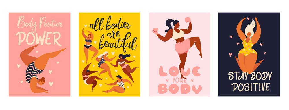 Feminism body positive vertical cards with love to own figure(Angelina Bambina)s