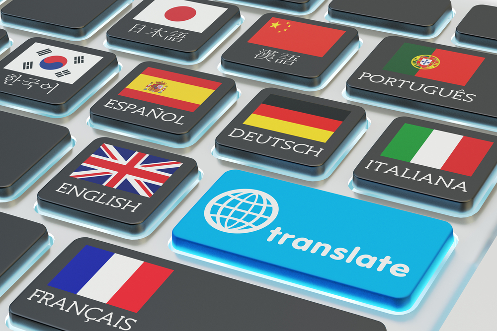 Foreign languages translation concept, online translator(cybrain)S