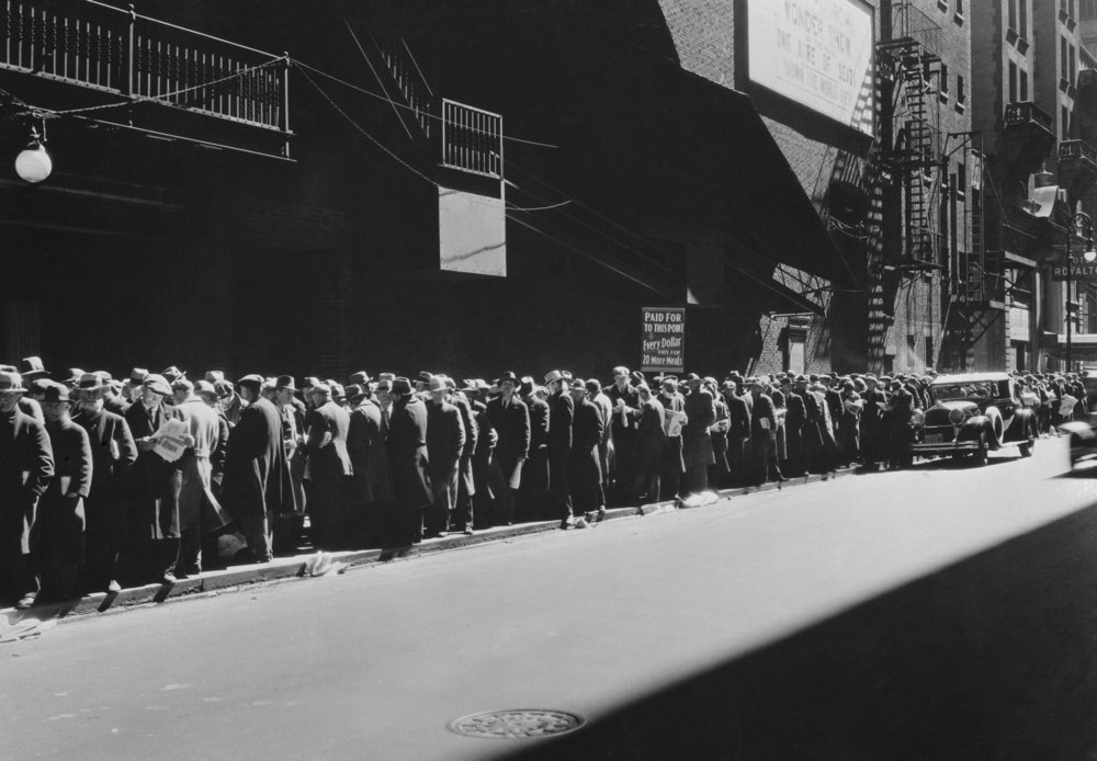 New York men in a bread line during the Great Depression(Everett Historical)s