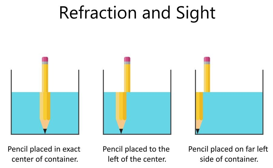 Refraction of light. A pencil in a glass of water(Fancy Tapis)s