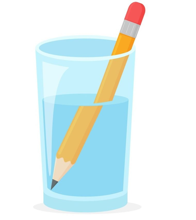 Refraction. Wooden pencil in a glass of water Refraction(CRStocker)s