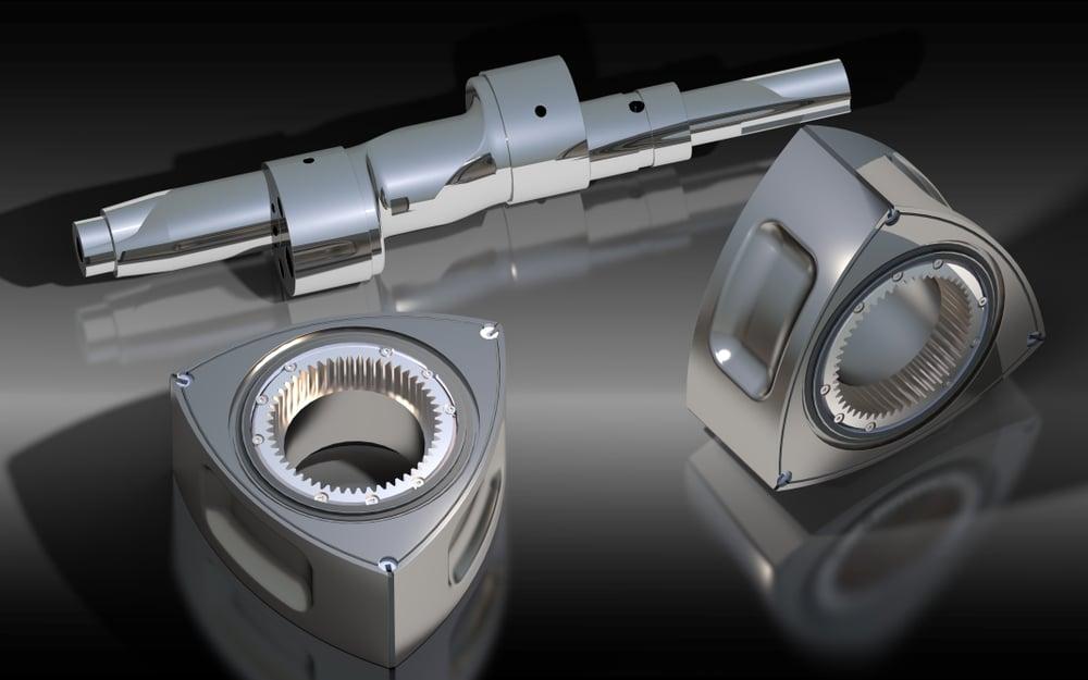 The parts from Wankel engine. 3D rendering(Jurgis Mankauskas)s