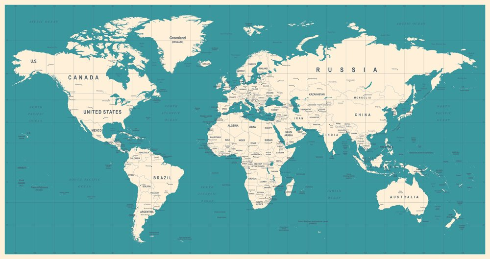 World Map Vintage Vector(dikobraziy)s