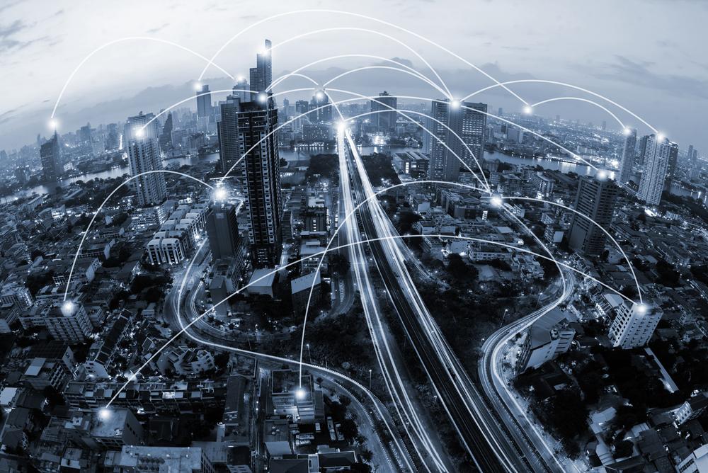 blue tone city and network connection concept(Ekaphon maneechot)s